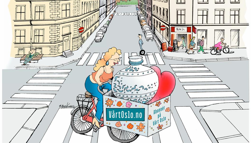 I VårOslo finner du hotte tips om hvor det er lettest å sykle med vase, mener Dagfinn Nordbø
