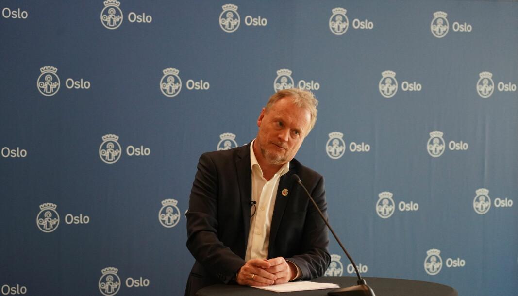 Byrådsleder Raymond Johansen på pressekonferanse om koronasituasjonen.