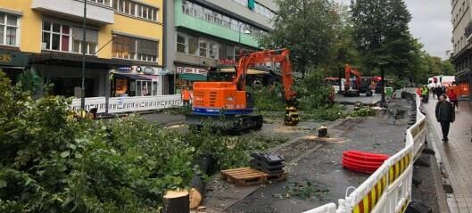Kommunen fikk miljøpris for ombygging av Olav Vs gate. Leiepris for utslippsfrie maskiner: 12,5 millioner kroner