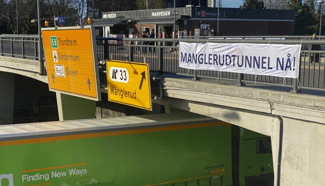 Nylig arrangerte folk lokalt en banneraksjon hvor budskapet om Manglelrudtunnel var tydelig.