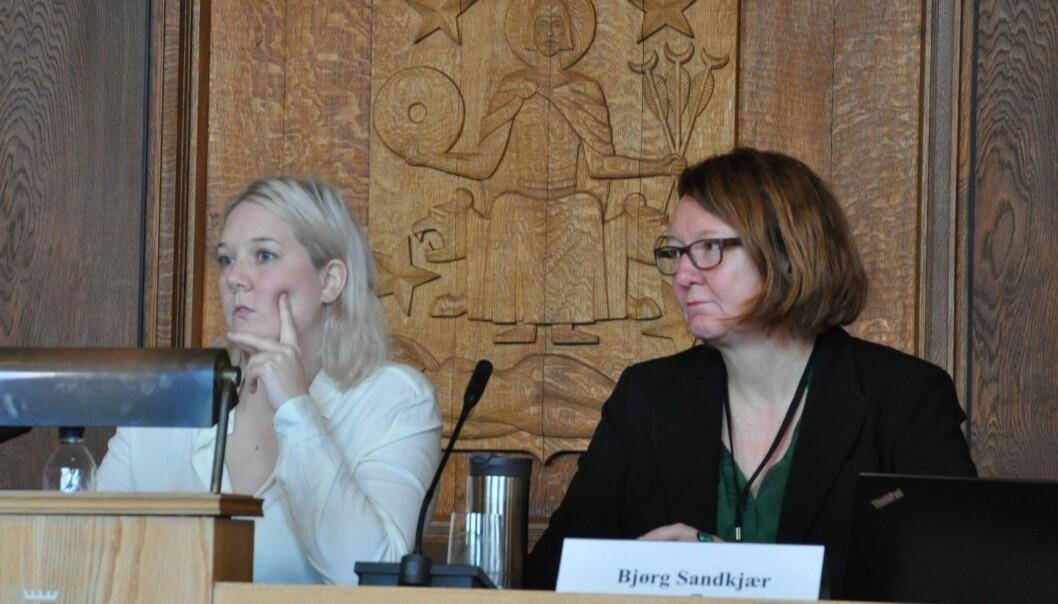 — Møteformen ble valgt som et alternativ til å kommunisere på mail, skriver Frps leder av helse- og sosialutvalget, Aina Stenersen (til v.). Nestleder Bjørg Sandkjær (Sp) har ikke besvart VårtOslos spørsmål.