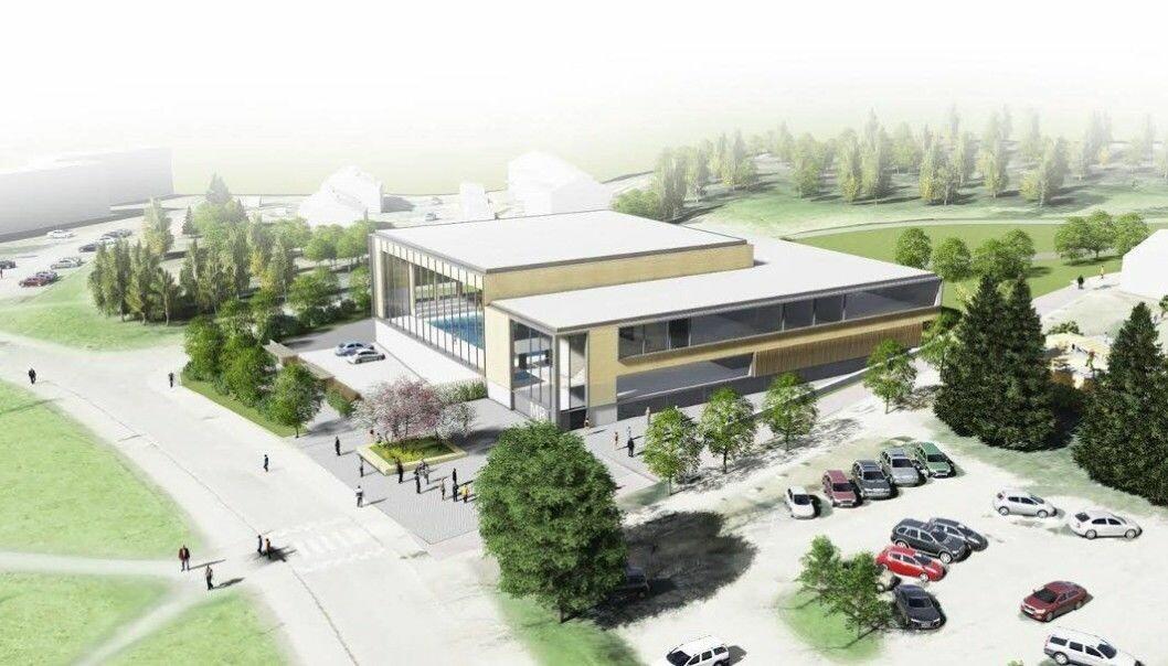 Slik blir det nye badet, ungdomshuset og musikkskolen ved Plogveien på Manglerud trolig seende ut.