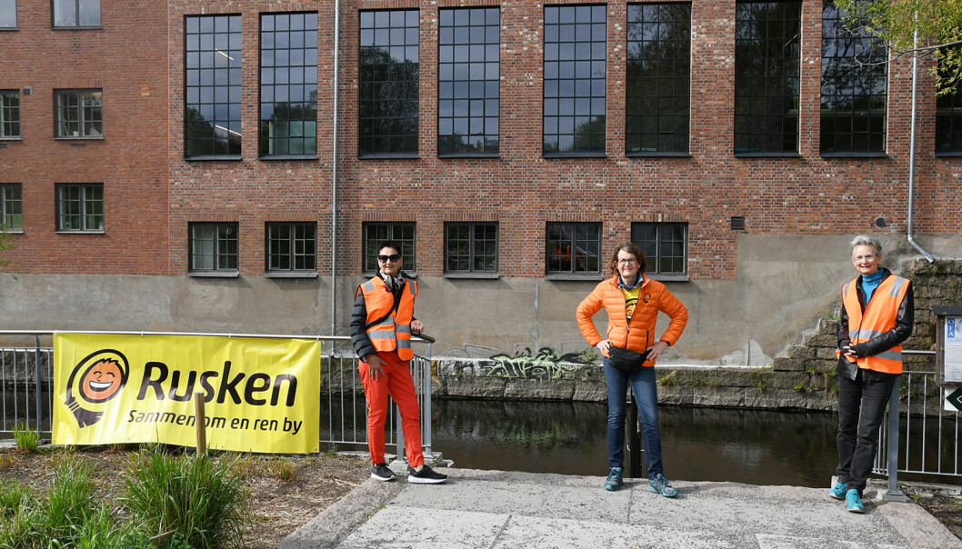 Rusken-teamet ved Akerselva.