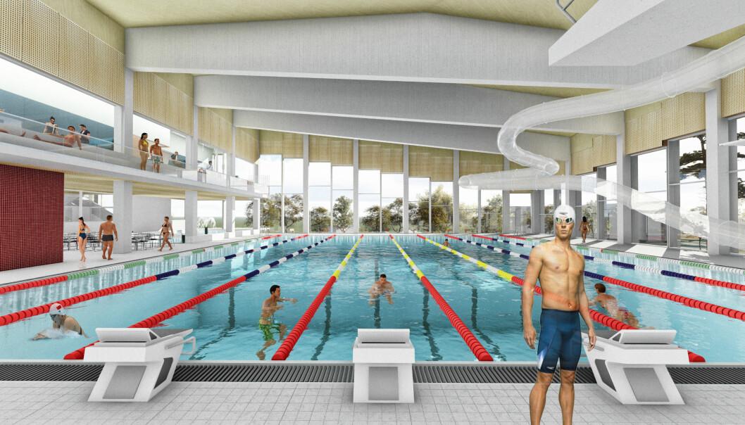 Om to år skal 25 x 21-meters basseng med hev- og senkebunn, stupetilbud, sklie, barne- og familiebasseng stå klart.