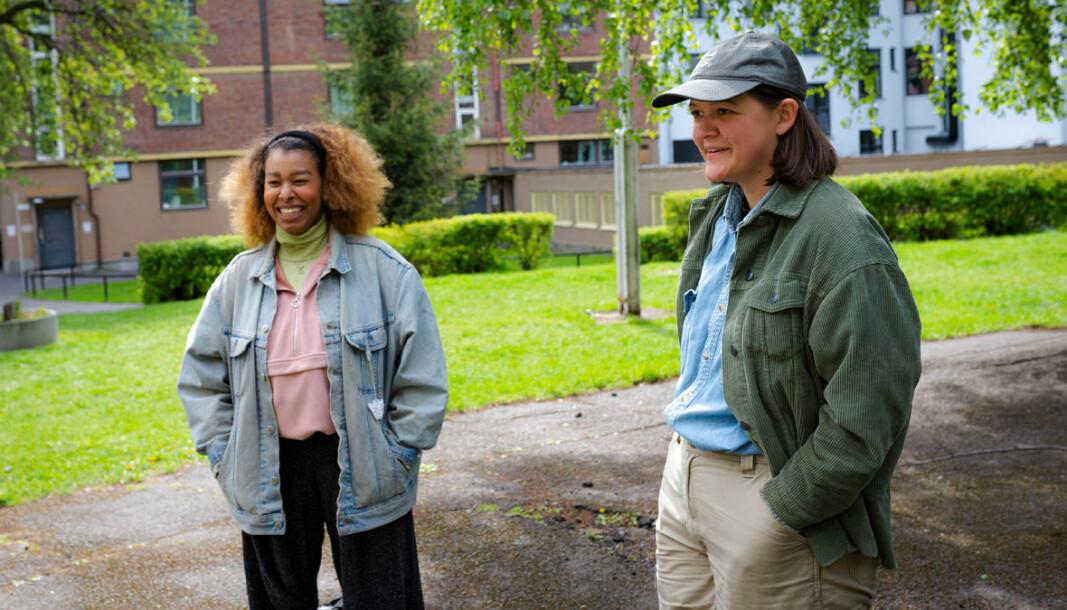 Både med humor og dype diskusjoner som våpen ønsker Hanna Asefaw (til venstre) og Maria Refsland et mer regulert boligmarked.