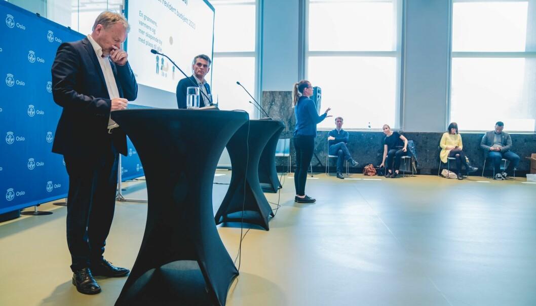 Byrådsleder Raymond Johansen (Ap) og finansbyråd Einar Wilhelmsen (MDG) la frem en rekke kuttforslag i revidert Oslo-budsjett.
