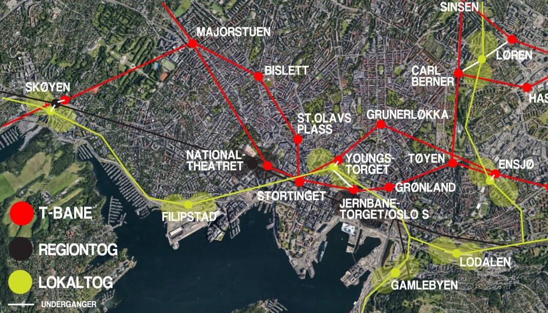 I stedet for ny regiontog-tunnel gjennom Oslos sentrum, parallelt med dagens, viser dette kartet muligheten for tunnel for lokaltog mellom Filipstad, Youngstorget og Gamlebyen.