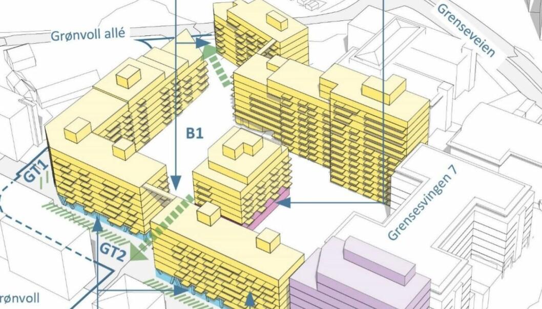 I Grensesvingen 7-9 og Grenseveien 97 på Helsfyr /Ensjø ønsker utbyggerne å bygge høyt.