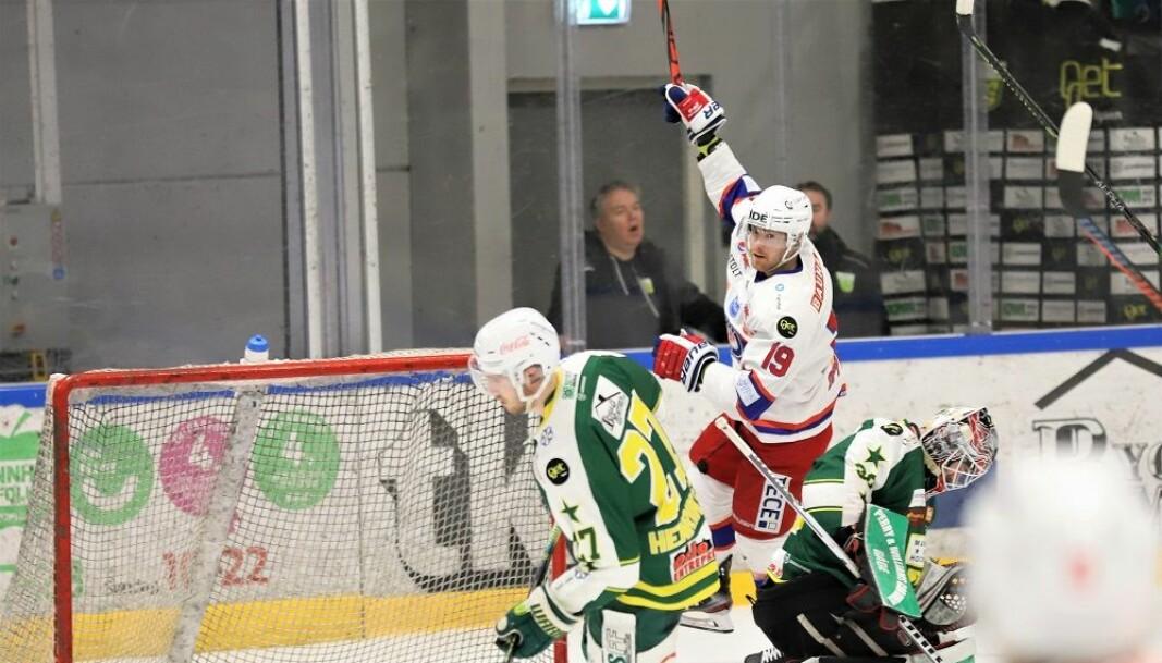 På bildet jubler VIFs Jonas Oppøyen for scoring mot MS. Men oslolagene fikk minst å juble for da kompensasjon for koronastans i sluttspillet ble delt ut.