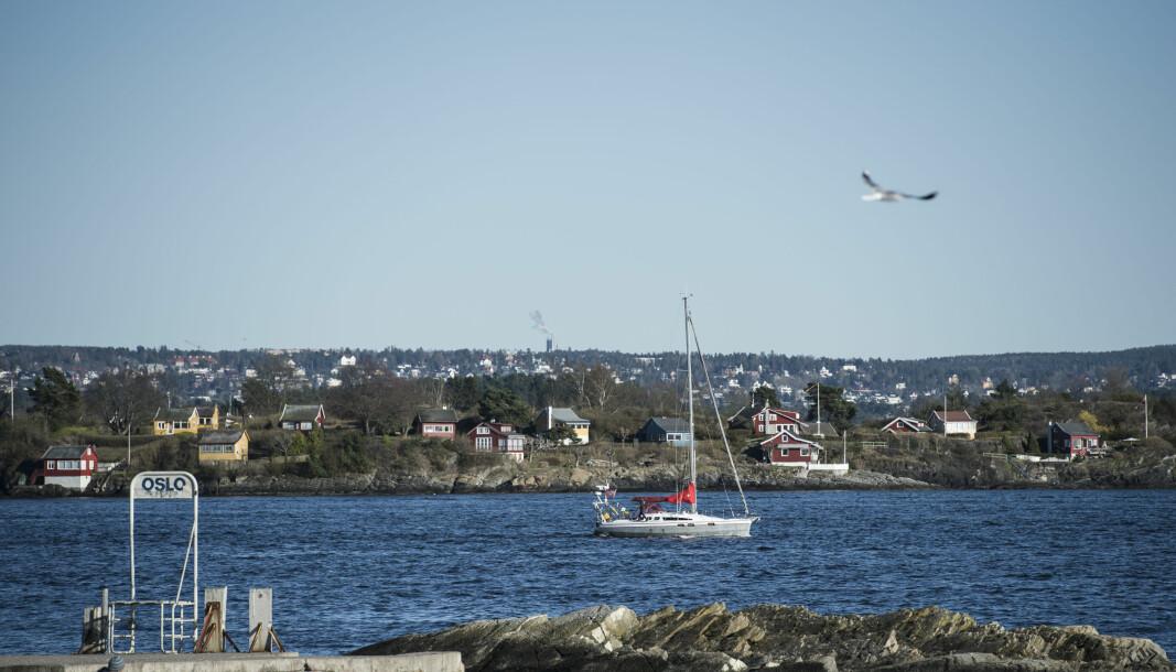 Oslo fra Huk strand på Bygdøy. Byens 37 kilometer lange strandlinje blir stadig mindre tilgjengelig for kommunens innbyggere.
