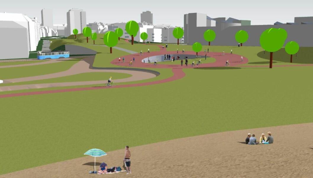 Tinkern på Ruseløkka får kobling til ny strand ved Filipstad i forslaget fra Fjordbyparken.