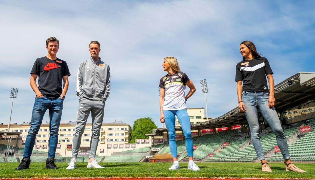 Fra venstre; brødrene Jakob og Filip Ingebrigtsen, Therese Johaug og Amalie Iuel under Bislett Alliansens pressekonferanse om Impossible Games på Bislett stadion i Oslo tirsdag.