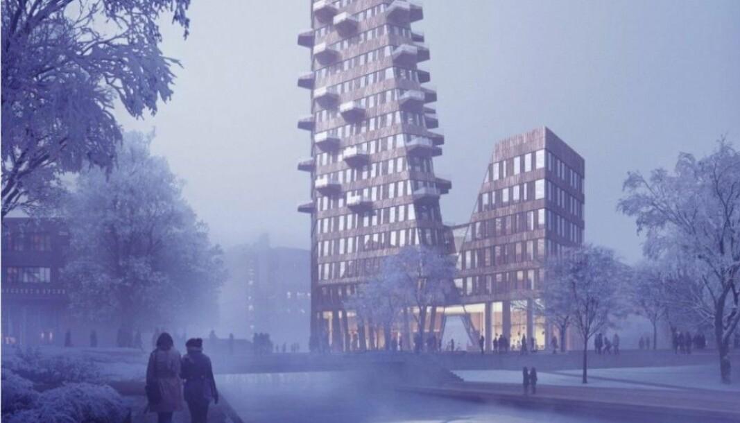 Avantors Snøhetta-tegnede høyhus med 18 etasjer er planlagt bygget på en kulvert over Akerselva.
