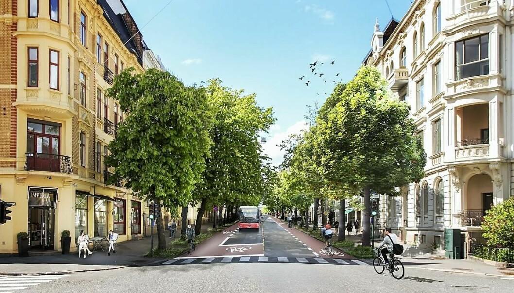Slik kan det bli seende ut hvis Bygdøy allé blir en ren buss- og sykkelgate. Med sykkelfelt på begge sider av gaten mellom Solli plass og Olav Kyrres plass og videre nedover Drammensveien til Halvdan Svartes gate.