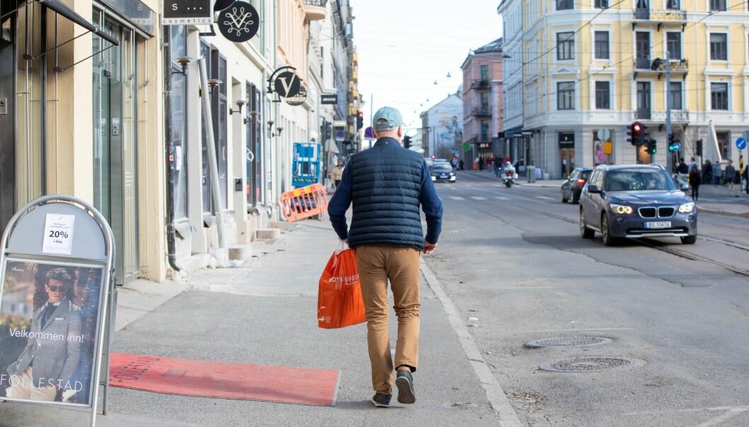 Godt med plass på fortauet i Bogstadveien i april i år. Frogner er en av bydelene med høyest ledighet under koronapandemien.