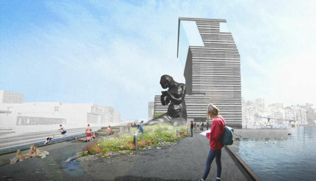 Slik forestiller landskapsarkitektene at friområdet utenfor det nye Munchmuseet kan bli seende ut.