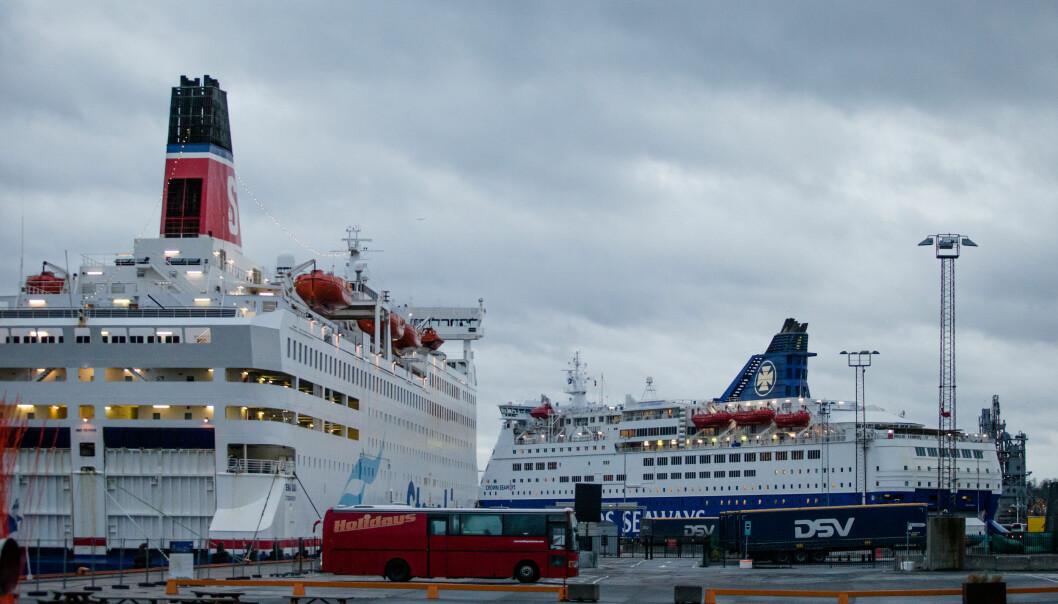 Danskebåter fra Stena Line og DFDS til kai ved en tidligere anledning. DFDS gjenopptar nå rutene mellom Norge og Danmark. Stena Line har lagt ned ruten mellom Oslo og Frederikshavn.