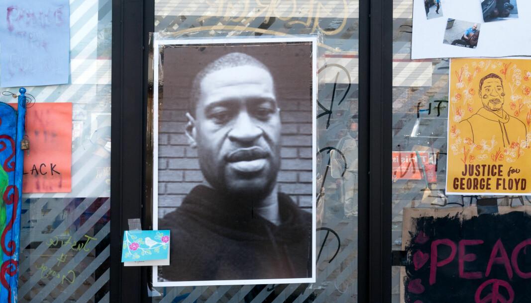 Justice for George Floyd. Plakat fra Minneapolis i USA.