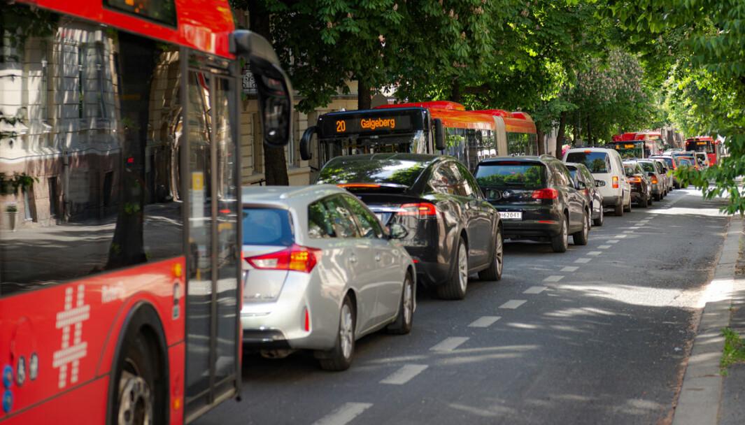 Fire busser i kø i Bygdøy allé. Nå vurderer byrådet å stenge gaten for privatbiler og kun la syklister og busser kjøre gjennom.