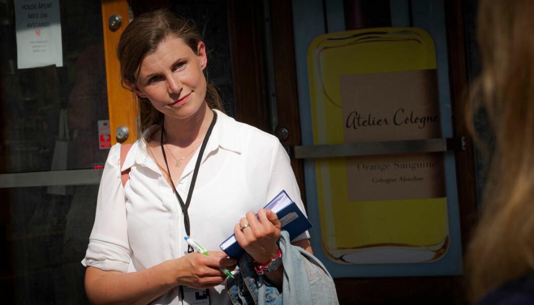 Byrådssekretær Kristin Brenna (MDG) under en befaring i Bygdøy allé tidligere denne uken.