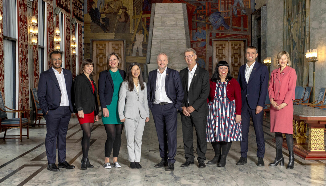 Fra venstre: Omar Samy Gamal (SV), Rina Mariann Hansen (AP), Hanna Marcussen (MDG), Lan Marie Nguyen Berg (MDG), Raymond Johansen (AP), Roberg Steen (AP), Victoria Marie Evensen (AP), Einar Wilhelmsen (MDG) og Inga Marte Thorkildsen (SV).