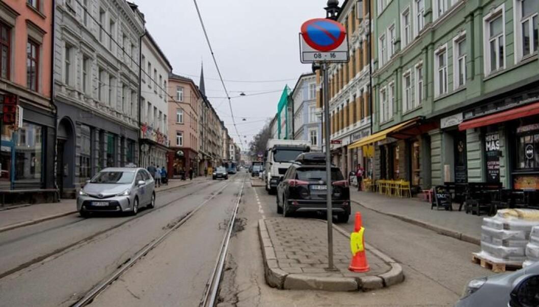 Thorvald Meyers gate før oppgraderingen startet. Arbeidet er planlagt ferdigstilt i 2021, opplyser Oslo kommune.