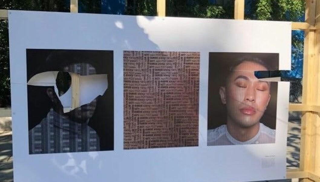 Slik så flere av bildene ut etter å ha stått utstilt på Schous plass i ett døgn