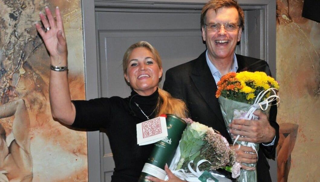 Cecilie Lyngby og Bjørn Revil jubler valgnatten 2019. FNB fikk fire representanter i Oslo bystyre.