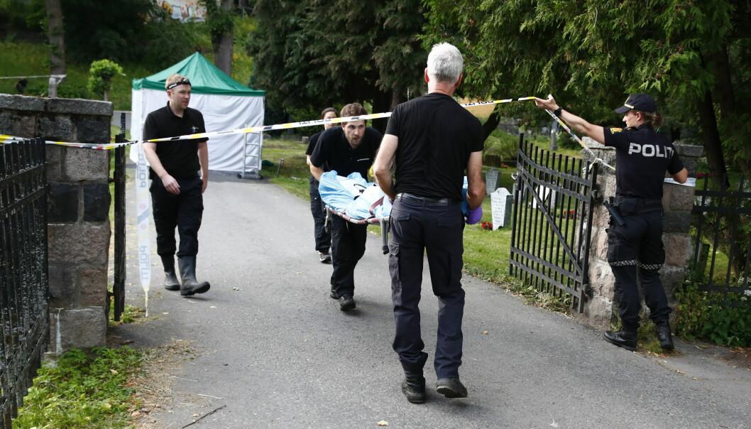 Avdøde ble funnet i en kum her ved Vår Frelsers Gravlund i Oslo.