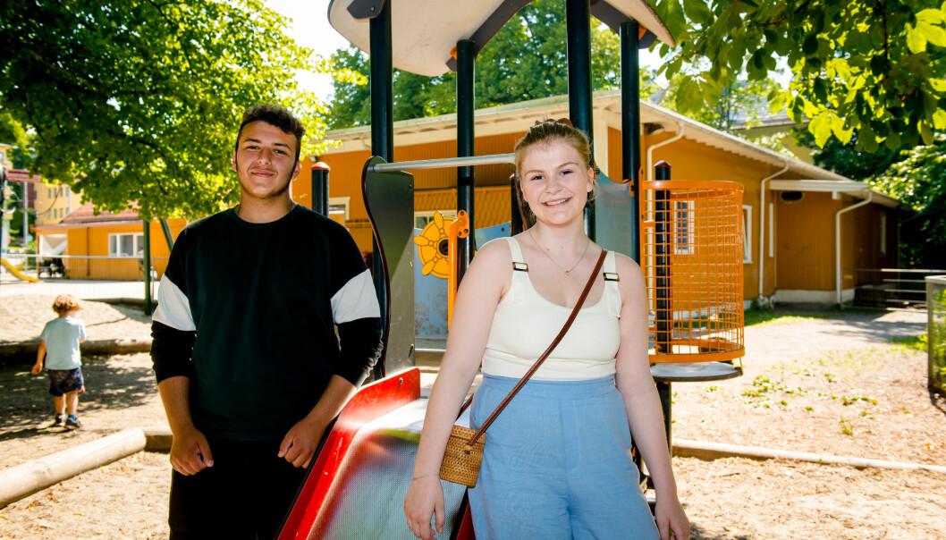Abd al Kader og Hedvig Topnes Hauge søkte begge om sommerjobb og er nå så heldige at de får jobbe to uker i barnehage i bydel Frogner.
