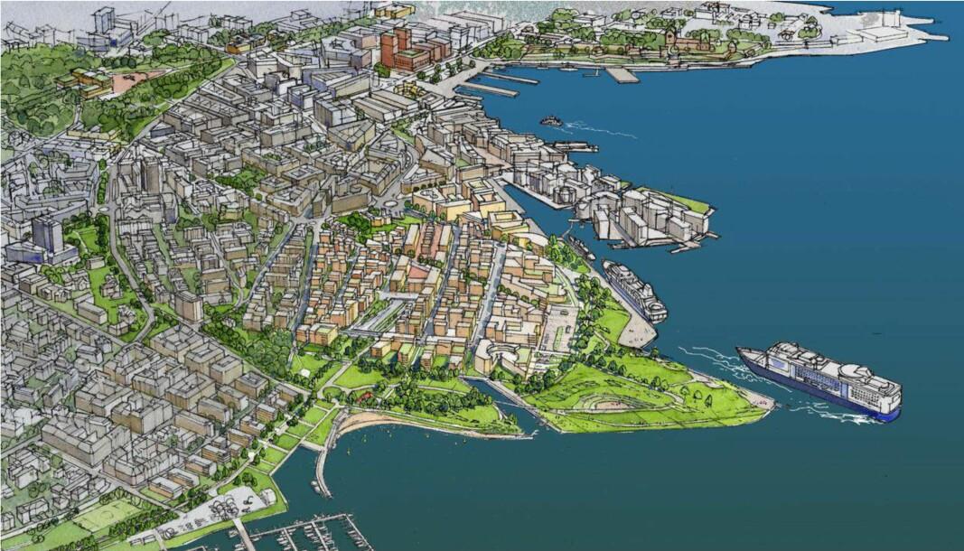 Slik ser Naturvernforbundets alternative plan for Filipstad, kalt Fjordbyparken, ut.