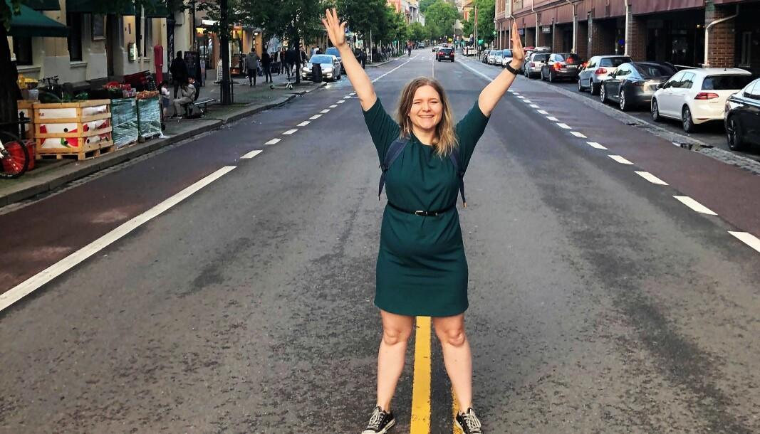 I andre byer i Europa har dette blitt lagt til rette for midlertidige sykkelfelt og fortausutvidelser. Nå er det Grønland sin tur, sier Miriam Einangshaug.