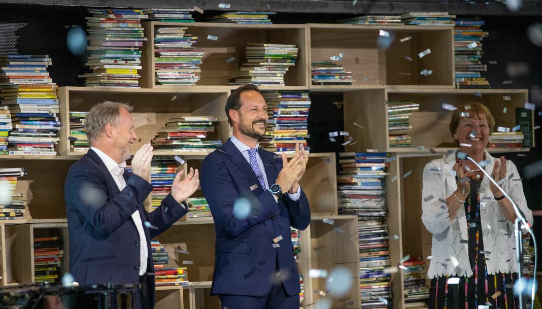 F.v: Byrådsleder Raymond Johansen, H.K.H. Kronprins Haakon og ordfører Marianne Borgen under åpningen sist torsdag.