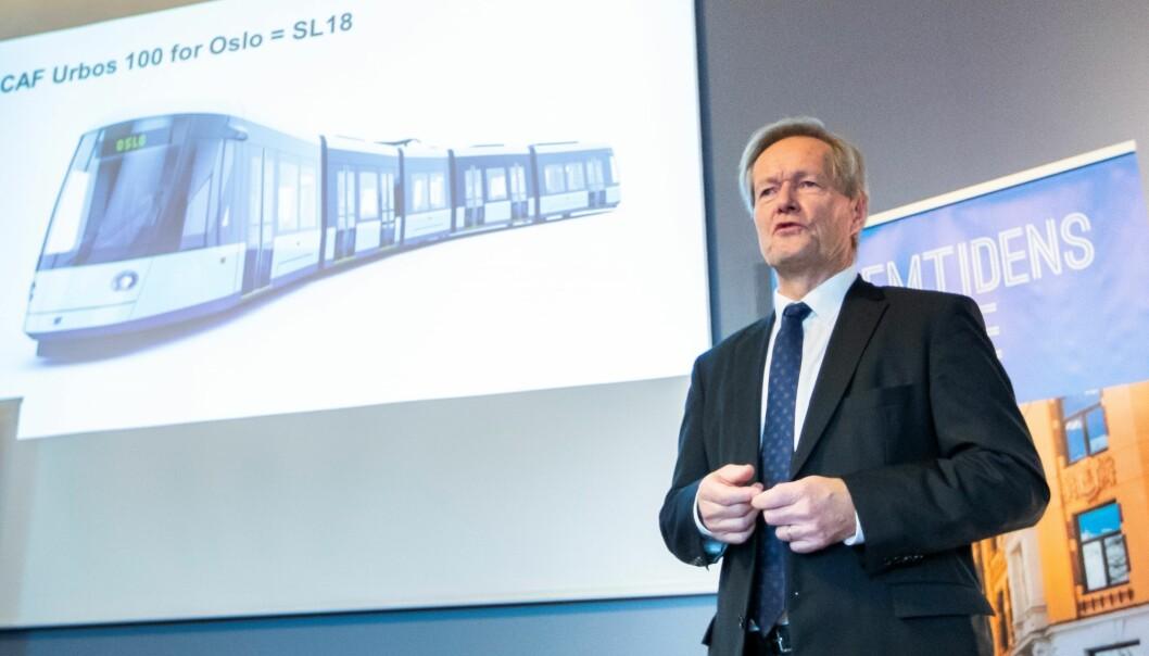 Konsernsjef i Sporveien, Cato Hellesjø, under en presentasjon de 87 nye trikkene som skal kjøpes inn i Oslo fra 2020 til 2024.