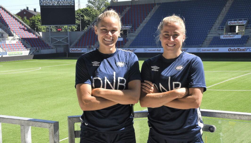 Vålerenga-jentene Andrine Tomter (t.v) og Sigrid Heien Hansen gleder seg stort til helgens serieåpning mot Sandviken i Bergen.