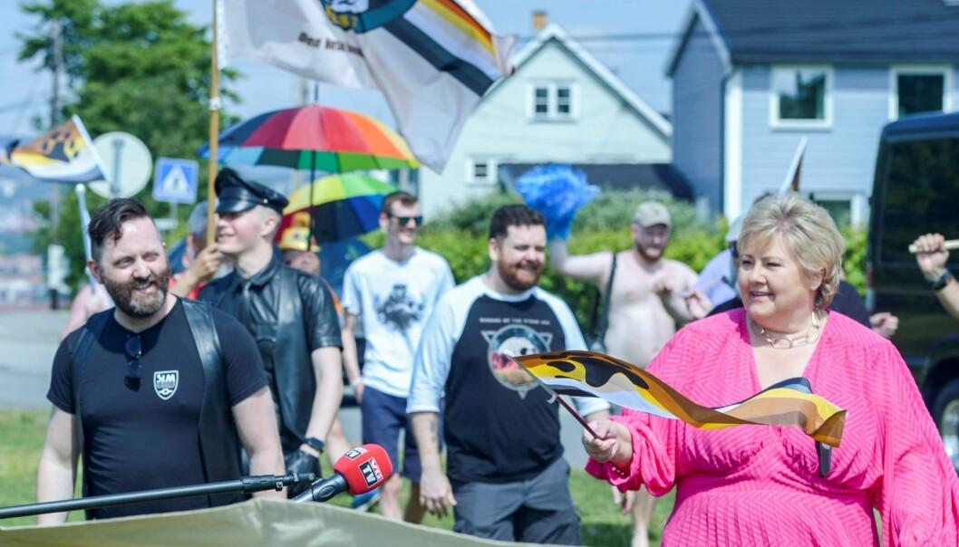 Statsminister Erna Solberg (H) på Ekeberg under Pride-markering.