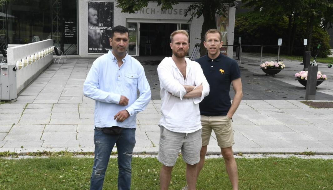 Mohamed Fariss (tv), Stian Amadeus Antonsen og Steinar Heldal ønsker kulturtilbud til barn og unge i det gamle Munchmuseet.