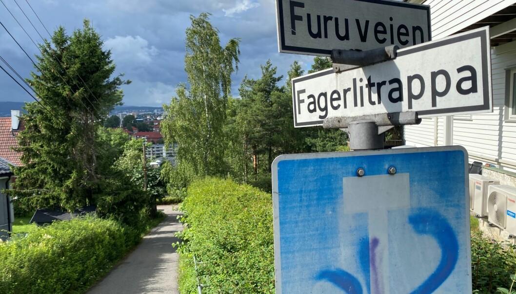 Gangaksen mellom Høyenhall og Fagerlitrappa med flott utsikt over byen.
