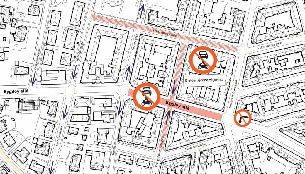 Bymiljøetatens kart over hvordan Bygdøy allé og sidegater berøres.