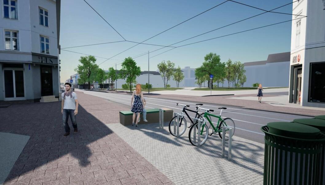 Slik er det planlagt seende ut når oppgradering av Thorvald Meyers gate er ferdig.