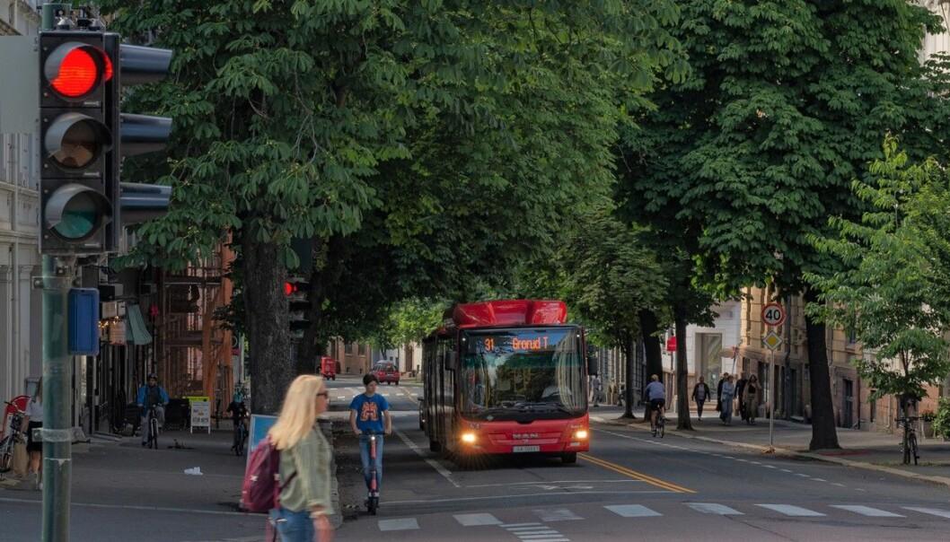 31-bussen slapp kø vestover første ettermiddag Bygdøy allé var stengt for gjennomkjøring.