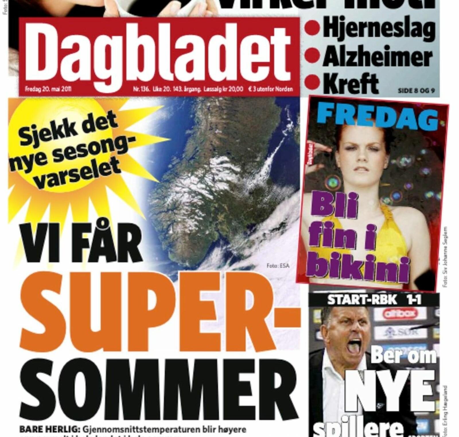 Faksimile: Dagbladet, 20. mai 2011