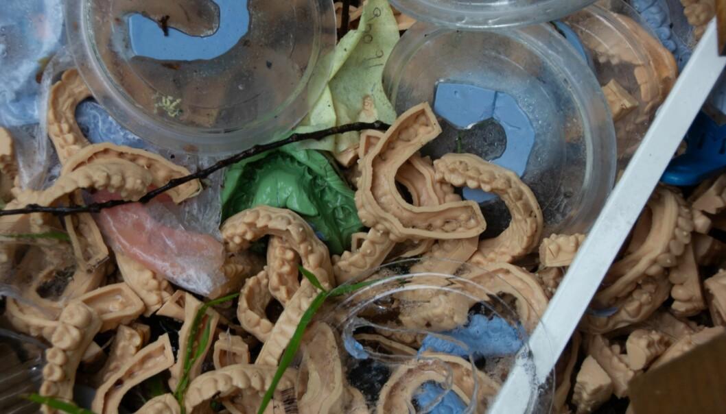 Tannavstøpningene som ble funnet sammen kontorutstyr og annet søppel ved Bygdøy kirkes parkeringsplass.