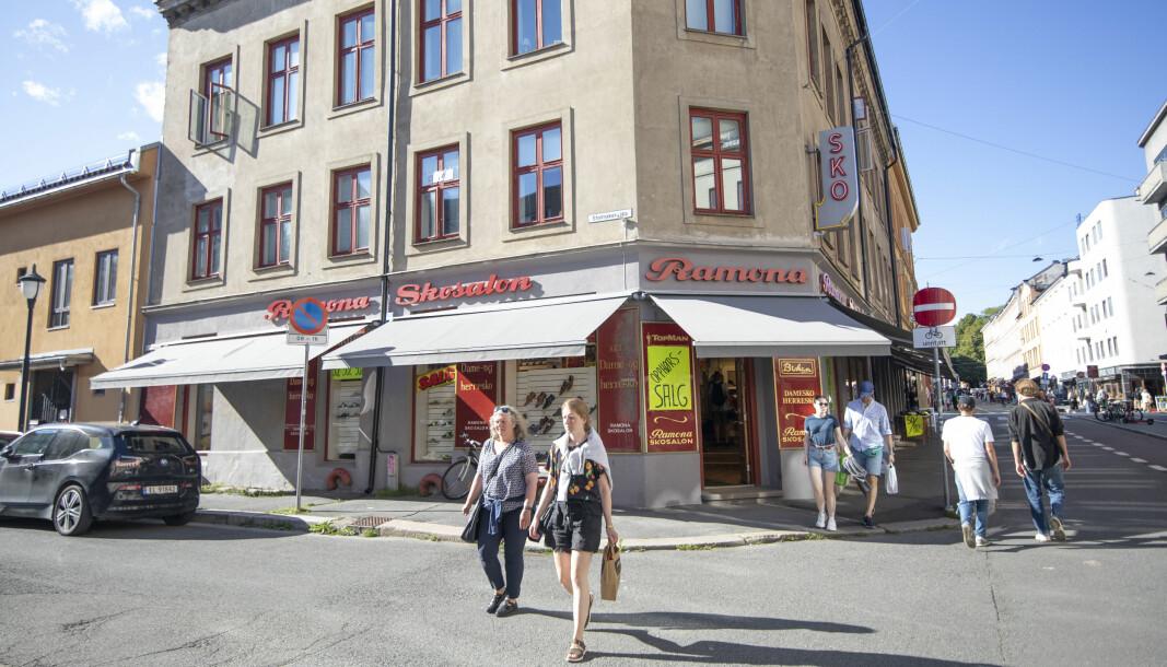 På dette gatehjørnet i Markveien 53 har Ramona skosalon ligget siden 1928.