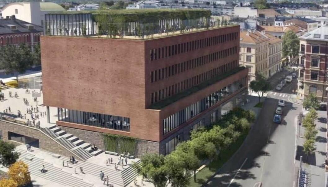 Slik blir nye Ruseløkka skole seende ut når den etter planen åpnes neste år. Til høyre sees Løkkeveien som kan bli stengt frem til 2022.