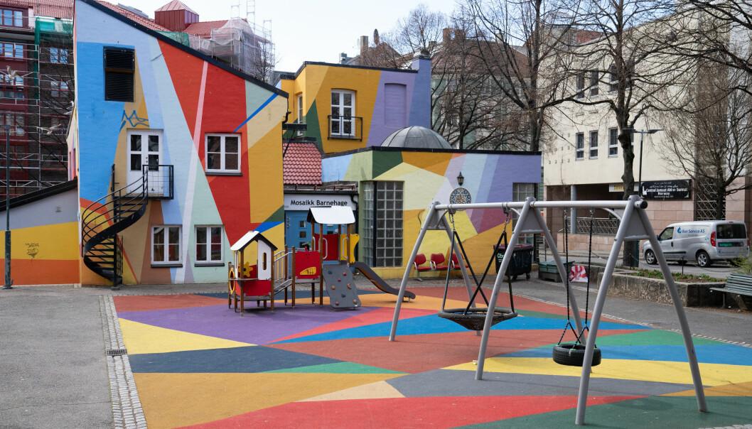 Utenfor Mosaikk barnehage i Norbygata 34 på Grønland i Oslo. Illustrasjonsfoto:
