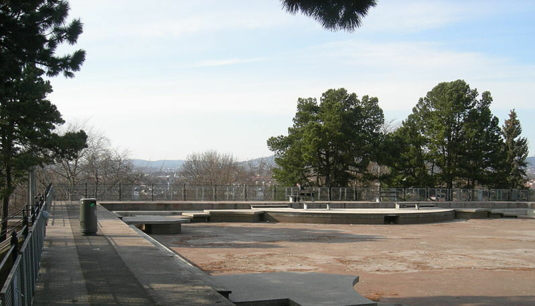 """Den flotte """"plaskedammen"""" på toppen av Kampen park er ikke lenger tørr og kjedelig."""