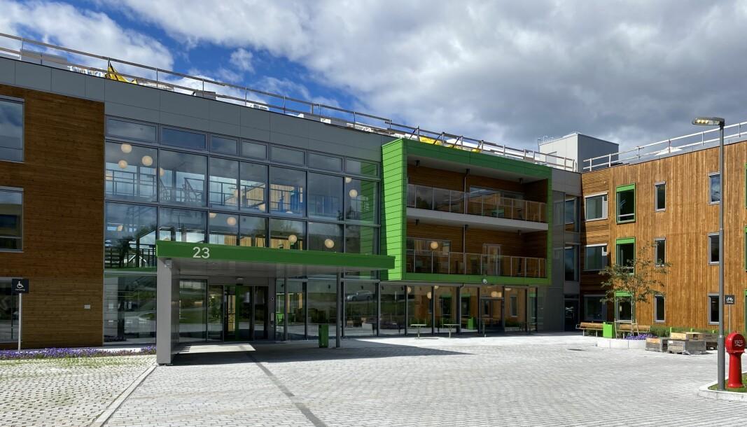 Slik ser hovedinngangen til Solfjellshøgda helsehus ut.