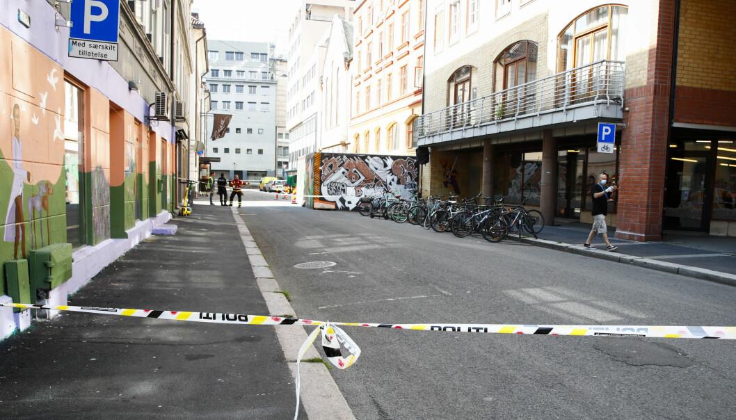 Et stort område ved Mariboes gate og Badstugata ble sperret av i forbindelse med utslippet.