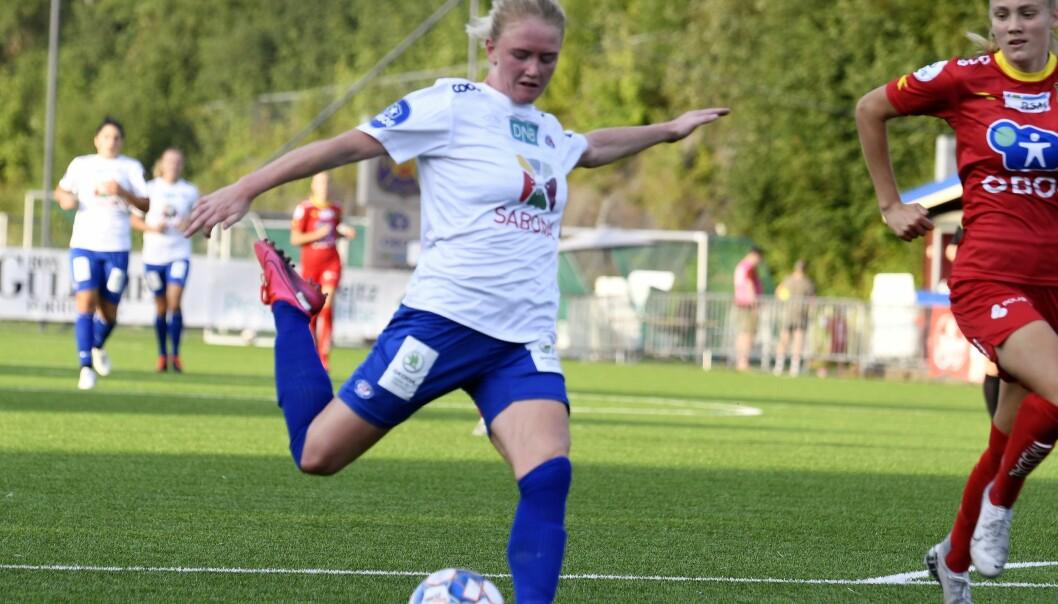 Rikke Madsen var en viktig del av Vålerengas-sliteseier mot Røa onsdag kveld. Her scorer hun 1-1-målet.